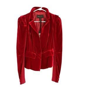 BCBG MaxAzaria wine red velvet blazer with tags